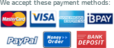 We accept Visa, Mastercard, American Express, PayPal, bPay and Direct Deposit